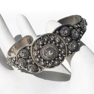Vintage Sterling Silver Nepalese Dome Cuff